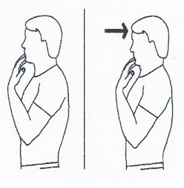 picture of a man performing a chin tuck exercise to stretch the back of the neck
